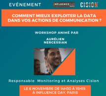 14h30/15h15. Workshop. Comment mieux exploiter la data dans vos actions de Communication ?  Mesure, Influence, Réputation : découvrez des cas concrets d'utilisation.